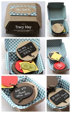 Anyone for BBQ? Stampin' Up! Hamburger box BBQ invite Word Bubbles framelits, Just Sayin, Circles framelits