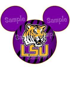 LSU Tigers digital printable Mickey head file DIY