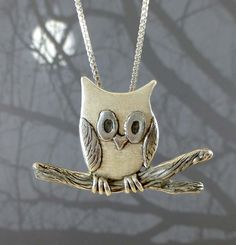 """Owl on Branch"" pendant handsculpted and carved in fine silver (byMyriam.com) $85 (PMC, precious metal clay) #bird #animal #jewelry"