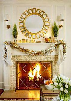 Big mirror above fireplace