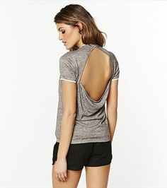 Keep it casual! This grey cut out back sweater looks gorgeous layered with one of our lace bandeaus.