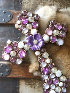 Purple Wall Cross With Vintage Flower by UniqueDesignsbyCK on Etsy, $24.95