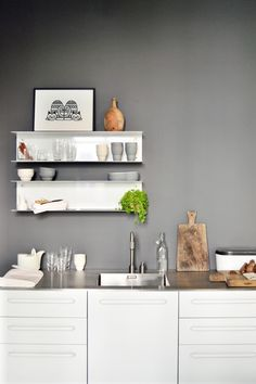 Via Happy Interior Blog | Grey and White | Kitchen | Vipp Shelves