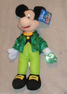 """Toy Factory Mickey Mouse Luck of the Irsh Bean Bag Plush 16"""""""