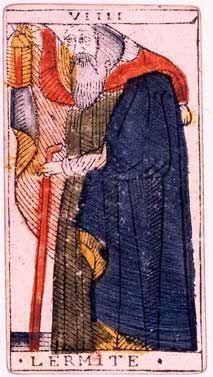 Vieille représentation de l'hermite qui exprime un personnage solitaire, qui a acquis une forme de maturité qui lui confère un certain respect.
