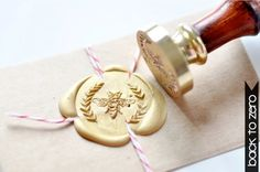 Bee Wreath Gold Plated Wax Seal Stamp