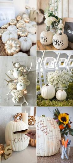 pumpkins themed wedding decoration ideas for fall Related posts:This moody fall wedding table scape complete with beautiful shades of rust and c.Love this idea as a wedding favor. by Rustic Fall Wedding Ideas to Steal Fall Wedding Decorations, Wedding Themes, Wedding Colors, Wedding Flowers, Pumpkin Wedding Centerpieces, Wedding Events, Aisle Decorations, Centerpiece Ideas, Antler Wedding Decor