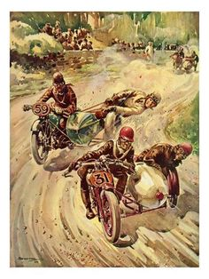 Vintage Motorcycles Giclee Print: Taking a Bend in a Tourist Trophy Sidecar Race : - size: Giclee Print: Taking a Bend in a Tourist Trophy Sidecar Race : Entertainment Vintage Bikes, Vintage Motorcycles, Vintage Cars, Motorcycle Posters, Motorcycle Art, Sidecar Motorcycle, Side Car, Mechanic Shop, Racing Motorcycles