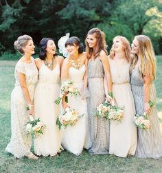 love these bridesmaid dresses,different styles and color,flower is beautiful