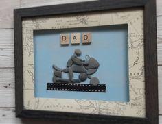 ☆☆Father's day☆☆gift ready to be sent. #biker #motorbike #dad #fathersday #framedart #seaglass #handmadeisbetter #bespoke #pebbles ♡