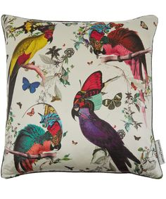 Kristjana S Williams Studio Four Lear Bird Print Silk Cushion