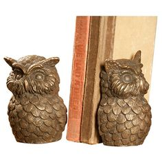 {Owl Bookends} bronzed cast iron