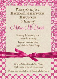 Pink Cream Damask Bridal Shower Brunch by ShutterbugSentiments, $18.00