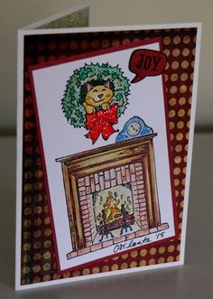Rubber Stamped Christmas Cat in Wreath over Fireplace Handmade Card CATlanta #Handmade #Christmas
