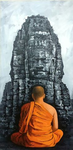 A monk is meditating peacefully in front of a Buddhist temple. The artist has used contrast to come up with a variance of colors that is starkly lovable and alluring. Watercolor Art, Modern Painting, Photo Art, Indian Artwork, Indian Art, Buddha Painting, Meditation Art, Painting Art Projects, Canvas Art Painting