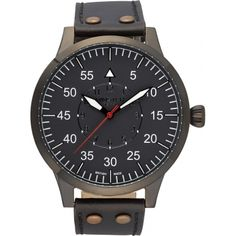 Minster 1949 MN02GRBK10 Mens Bradnor Black Leather Strap Watch