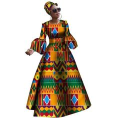 Image of 2018 African dresses for women New African dashiki rche dress for women Africa women long sleeves party dress plus size African Maxi Dresses, Latest African Fashion Dresses, African Dresses For Women, African Print Fashion, African Attire, African Wear, African Outfits, Africa Fashion, African Clothes