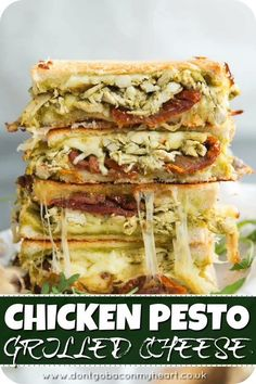 Chicken Pesto Grilled Cheese is the ULTIMATE grilled cheese combo. Juicy chicken wrapped in a homemade basil pesto, paired with sun dried tomatoes and stringy mozzarella – the perfect lunch ready and waiting! recipes for two recipes fry recipes Paleo Snack, Pesto Grilled Cheeses, Grilled Cheese Recipes, Ultimate Grilled Cheese, Chicken Recipes, Dinner Recipes, Recipes With Pesto, Easy Meals, Food Porn