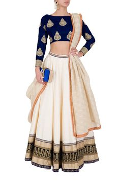 Royal Blue Velvet Lehenga Choli by Rianta's. Shop now: http://www.onceuponatrunk.com/designers/riyanta-s #blue #white #gold #floral #lehenga #skirt #croptop #shopnow #riantas #fashion #onceuponatrunk #happyshopping