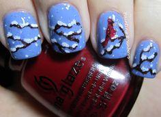 Winter Cardinal Nails