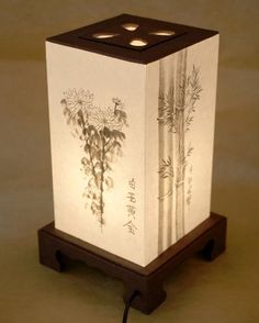 Mulberry Rice Paper White Shade Handmade Four Noble Flower Plant Painting Design. Decorative Accent Table Light Lamp - Features: Soft and comforting natural light through Hanji, Korean mulberry paper, to soothe you body and mind . Decor, Paper Lamp, Lamp Design, Bedside Table Lamps, Lamp, Accent Table Decor, Brown Lanterns, Japanese Lamps, House Lamp