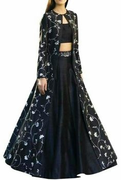 Buy Raw silk embroidered long jacket with blouse & lehenga by Sana Barreja at Aza Fashions Source by dresses indian Party Wear Indian Dresses, Designer Party Wear Dresses, Indian Gowns Dresses, Party Wear Lehenga, Indian Fashion Dresses, Kurti Designs Party Wear, Dress Indian Style, Lehenga Designs, Indian Designer Outfits