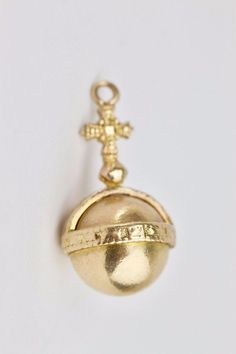 #Vintage #Solid #9k #Yellow #Gold #Globus #Cruciger #Charm 27mm 4.7 Grams #love #siren