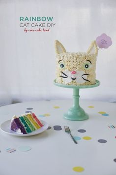 Rainbow Cat Cake DIY birthday cake // Coco Cake Land
