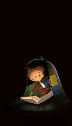 girl reading under the covers with flashlight - BOOKS -