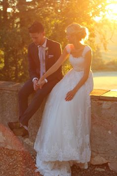 Image by Matthew Weinreb - A Beautiful Destination Wedding At Chateau De Lartigolle In France With A Classic Lace Wedding Dress Photographed by Matthew Weinreb.