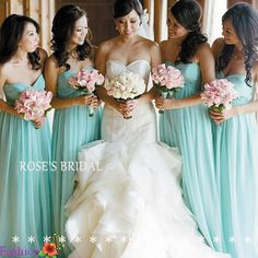 Modest  Chiffon Turquoise Blue Long Bridesmaid Dresses For Girls, Cheap