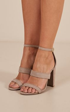 bac677bc1b5 Zadie heels in taupe micro Produced By SHOWPO