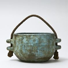 Large cachepot with rope handle, decorated with water-green and blue slips (France ca.1950-60)