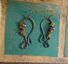 Blinged Copper Horseshoe Earrings