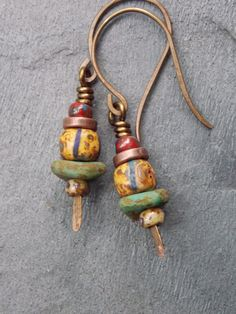 Mixed Rustic Czech Beaded EarringsPicasso by NickiLynnJewelry, $17.50