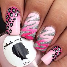 Animal print Pink Leopard Nails, Zebra Nails, Pink Nails, Gel Nails, Nail Nail, Toenails, Zebra Nail Designs, Animal Nail Designs, Gorgeous Nails
