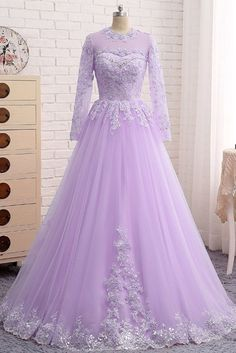 New Arrival Purple Beaded Long Prom Dress With Long Sleeve Lace Appliqued A Line Women Party Gowns , on Luulla Indian Gowns Dresses, Bridal Dresses, Prom Dresses, Dress Prom, Long Gown Dress, Lavender Dresses, Quince Dresses, Lavender Quinceanera Dresses, Lavender Dress Formal