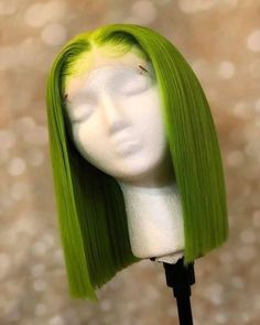 Short Bob Wigs, Short Bob Hairstyles, Wig Hairstyles, Wig Bob, Everyday Hairstyles, Human Hair Lace Wigs, Remy Human Hair, Longbob Hair, Green Wig