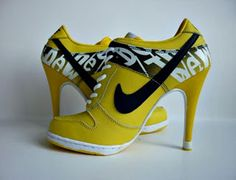 Smooth Productions NY: Fashion Collection of High Heels Nike Dunk High Heels Yellow