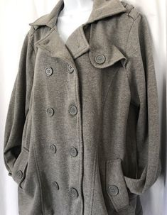 65f41b77ceb68 TORRID Gray Fleece Double Breasted Pea Coat Jacket Size 1 - 14 16 Buckle  Sleeves