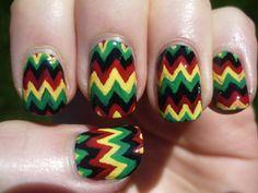 Rosta color crazy design nails love them! Easter Nail Designs, Diy Nail Designs, Simple Nail Designs, Crazy Nail Art, Crazy Nails, Cute Nails, Pretty Nails, Rasta Tattoo, Jamaica Nails