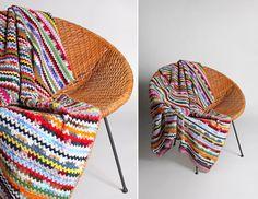 Vintage Multi Color Striped Afghan Blanket  by GirlLeastLikely