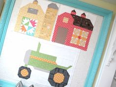 It's time for Barn in the Quilty Barn Along This barn features 2 of my favorite colors. Tractor Quilt, Farm Quilt, House Quilt Block, House Quilts, Colchas Quilt, Quilt Blocks, Scrappy Quilts, Applique Quilts, Quilt Block Patterns
