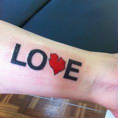 Michigan inspired tattoo. Love. Ink. Inkspiration. Tattoos.  Detroit. Mitten