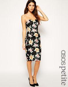 ASOS PETITE Exclusive Printed Jacquard Bandeau Dress