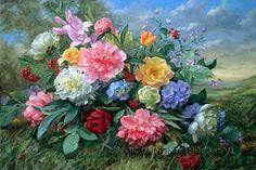 "Enchanting Wholesale Oil Painting Still Lifes Flower Painting Bouquet, Size: 36"" x 24"", $116. Url: http://www.oilpaintingshops.com/enchanting-wholesale-oil-painting-still-lifes-flower-painting-bouquet-2332.html"