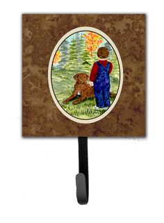 Little Boy with His Chesapeake Bay Retriever Leash Holder and Wall Hook