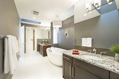 Trickle Creek Homes Next At Home, Home Improvement Projects, Bathroom Lighting, Tile, Homes, Mirror, Furniture, Home Decor, Bathroom Light Fittings