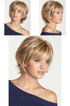 Human Hair Capless Wigs Short Wavy Bob H - Hair Beauty - hadido Short Shag Hairstyles, Choppy Bob Hairstyles, Cool Hairstyles, Hairstyle Ideas, Bangs Hairstyle, Wedding Hairstyle, Layered Hairstyles, Office Hairstyles, Black Hairstyle