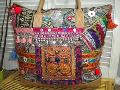 Upcycled Maycas Jewelled BOHO Gypsy Bohemian Ethnic Hand Carry-all Bag  - Free shipping to USA on Etsy, $150.00